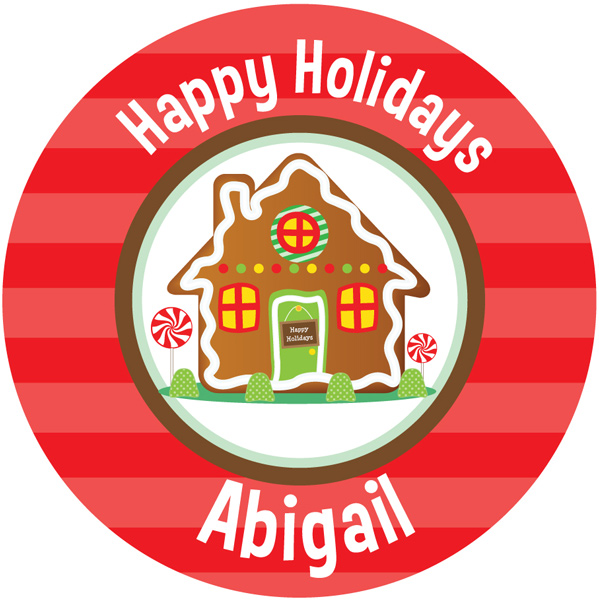 Personalized Gingerbread House Gift Stickers
