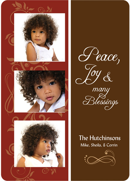 Personalized Blessings Burgundy Card