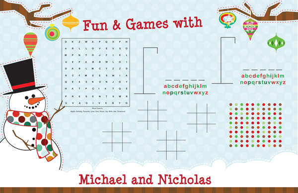 Personalized Mr. Snowman Games Paper Placemats