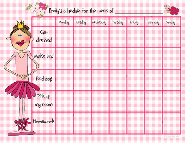 Buy Personalized Ballet Princess Single Weekly Calendar