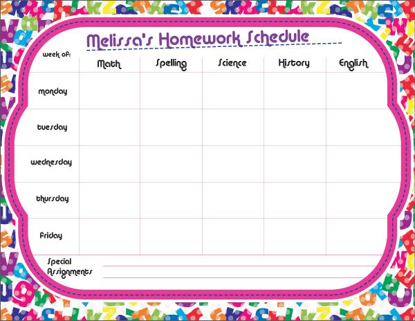 Personalized Fun Alphabet Homework Chart