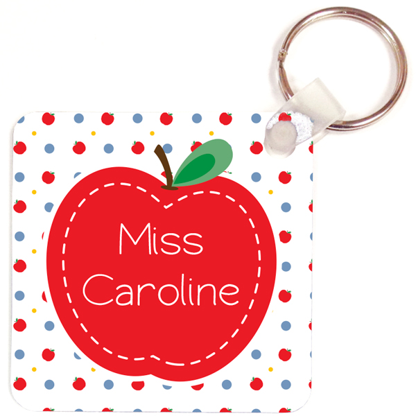 Personalized Just an Apple Key Chain