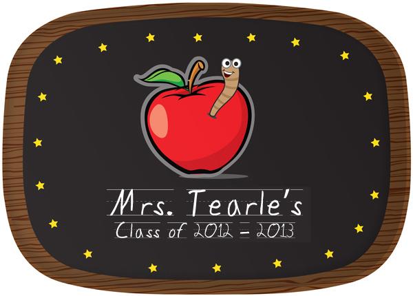 Personalized Apple for Teacher Platter MooLaLa