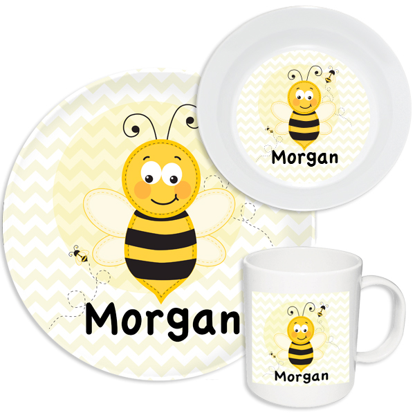 Personalized Bumble Bee Melamine Set