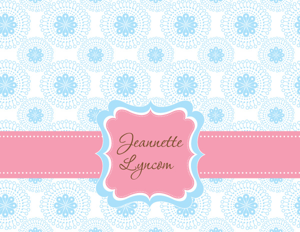 Personalized Blue Ornament Foldover Card