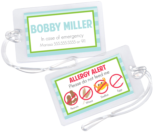 Personalized Blue Stripes Allergy Alert Tag