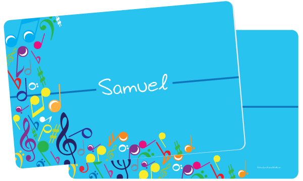 Personalized Bright Notes Aqua Placemat