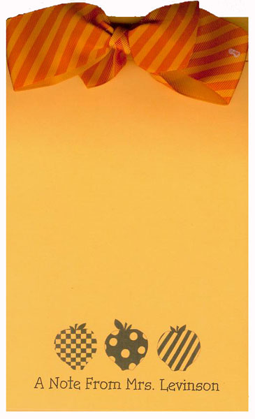 3 Apples Orange Bow Notepad