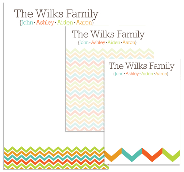 Personalized Fall Chevron Family Pad Set