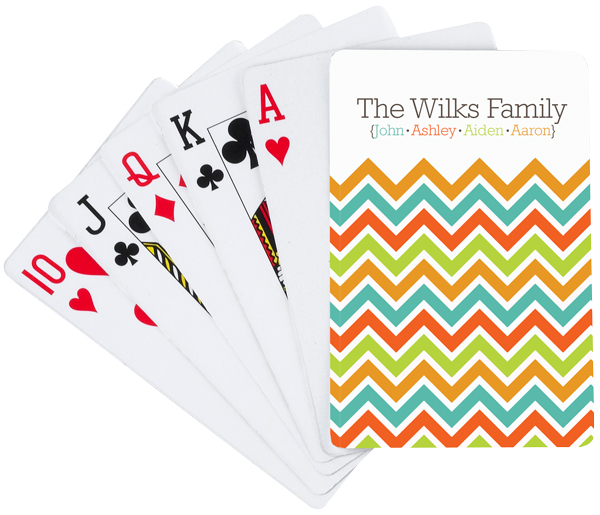 Personalized Chevron Family Playing Cards