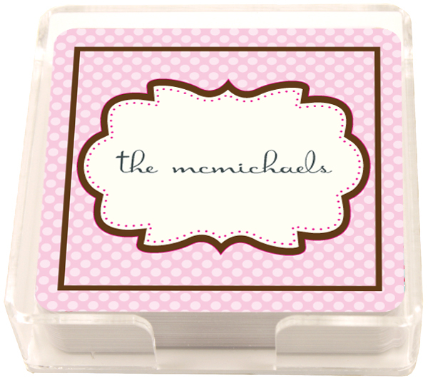 Personalized Chocolate Pink Frame Coasters