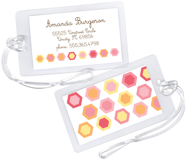 Personalized Colorful Hexagons Luggage Tag