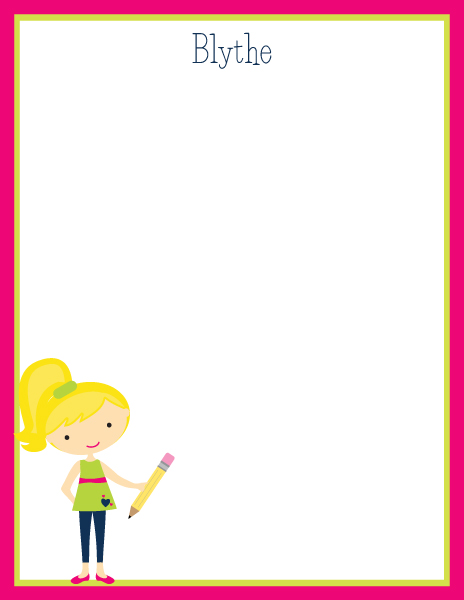 Personalized Girl Doodle Pad