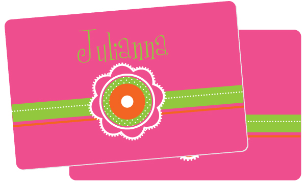 Personalized Dotted Flowers Placemat
