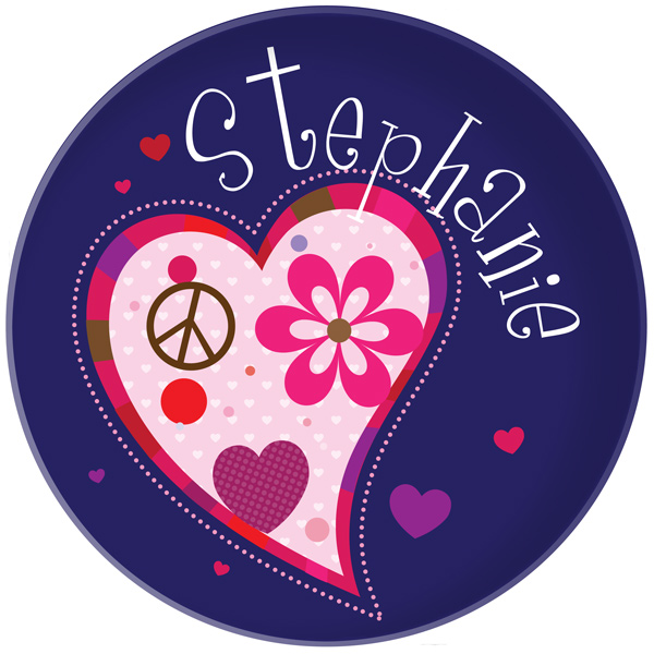 Personalized Funky Hearts Plate