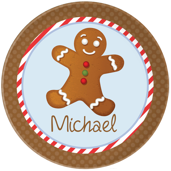 Personalized Gingerbread Plate Boy