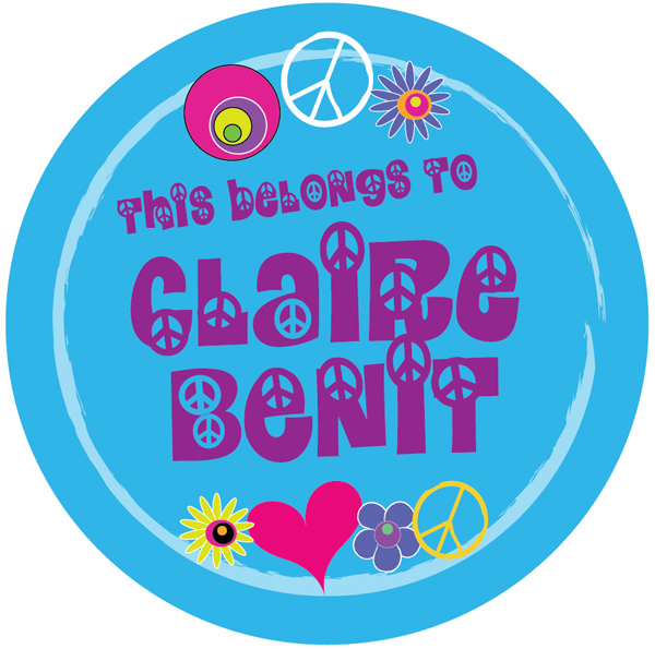 Personalized Hippy Peace Camp Stickers