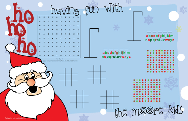 Buy Personalized Ho Ho Ho Santa Games Paper Placemats Gift Online