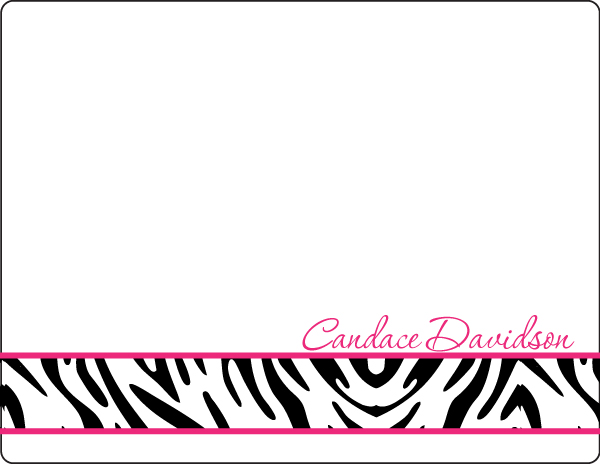Personalized Hot Pink Zebra Note Card