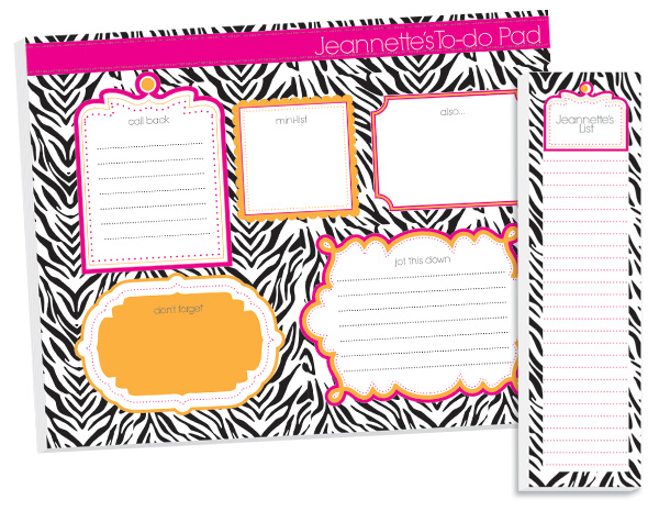 Personalized Hot Zebra To Do Pad Set