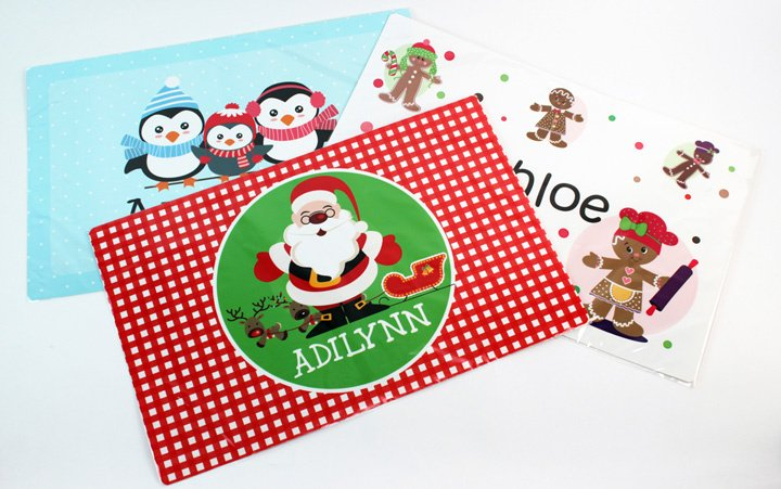 Personalized Kids Holiday Plastic Placemats