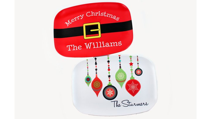 Christmas Platters And Trays.Personalized Christmas Chanukah Melamine Platters And