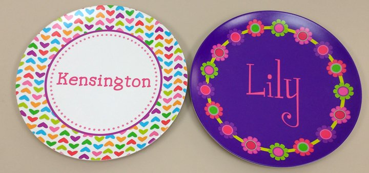 Melamine Plates for Girls  sc 1 st  Script and Scribble & Personalized Girl Melamine Plates