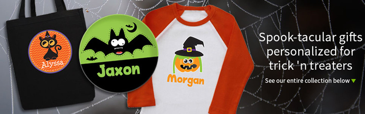 Personalized Kids Halloween Treat Bags, Shirts, Stickers and more!