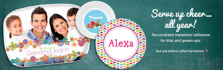 melaminedinnerwarelp_720  sc 1 st  Script and Scribble & Customized Kids Melamine Plates Platters u0026 Dinnerware -
