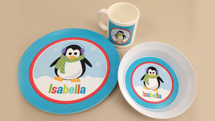 Christmas Melamine Dinnerware Sets. penguindinnerset720_720  sc 1 st  Script and Scribble & Custom Kids Holiday Christmas Melamine Dinnerware Sets Gift Online