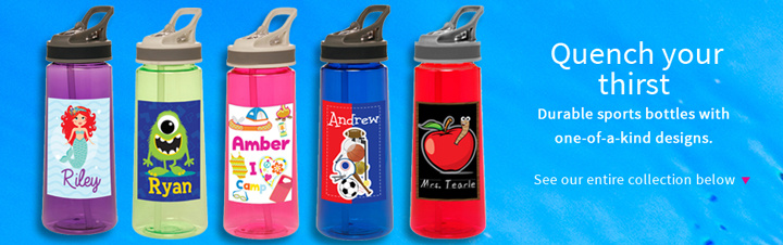 Custom Printed Water Bottles for Kids, Teachers and Adults