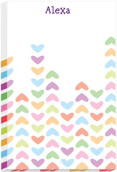 Personalized Lined Hearts Note Pad