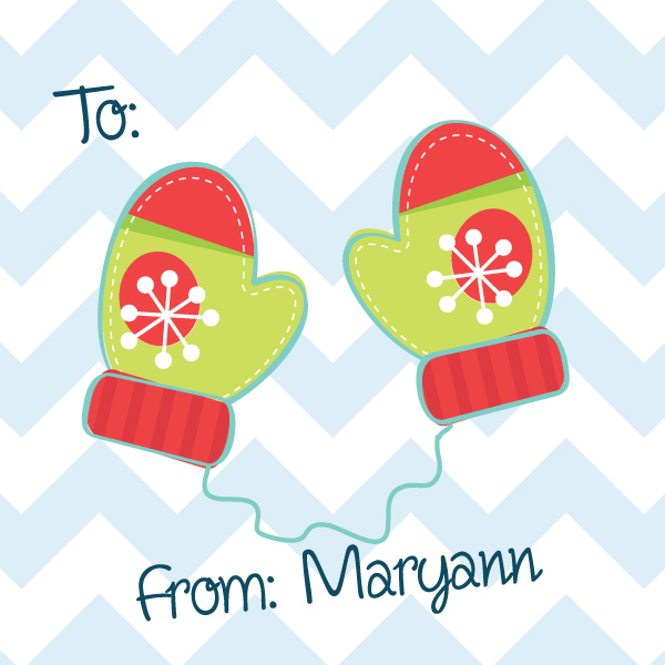 Personalized Merry Mittens Gift Stickers