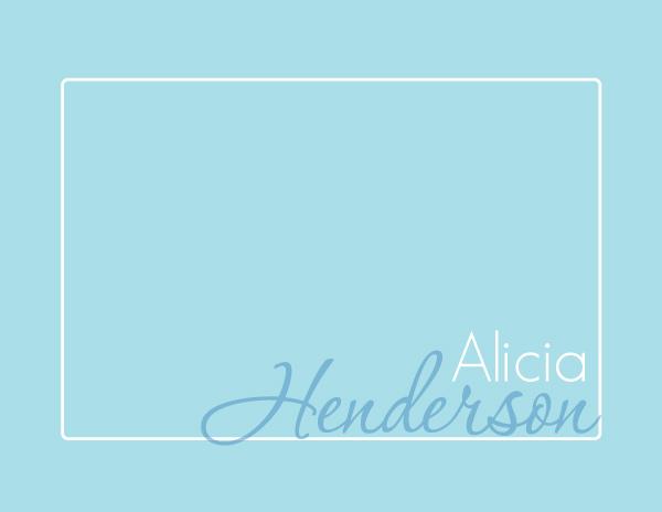 Personalized Modern Script Blue Foldover Card