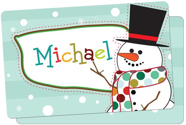 Personalized Mr. Snowman Placemat