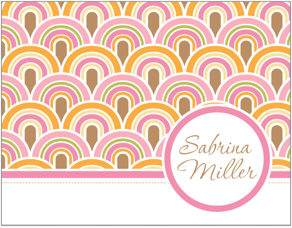 Personalized Pastel Waves Foldover Card