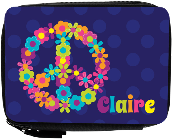 Personalized Peace and Flowers Pencil Case