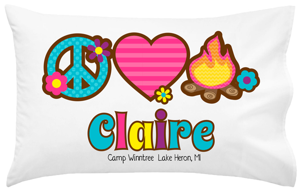 Personalized Peace Love Camp Pillowcase