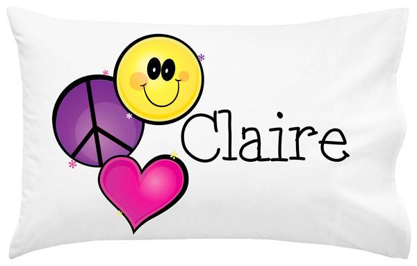 Personalized Peace Heart Smiley Pillowcase