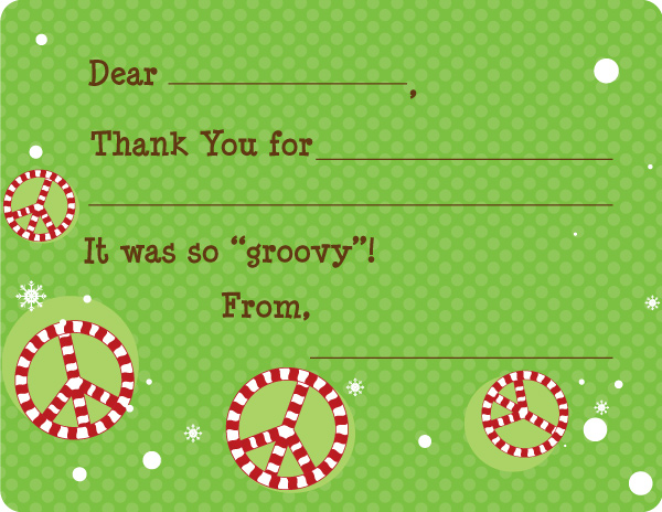 Candy Cane Peace Personalized Note Card Fill In Note