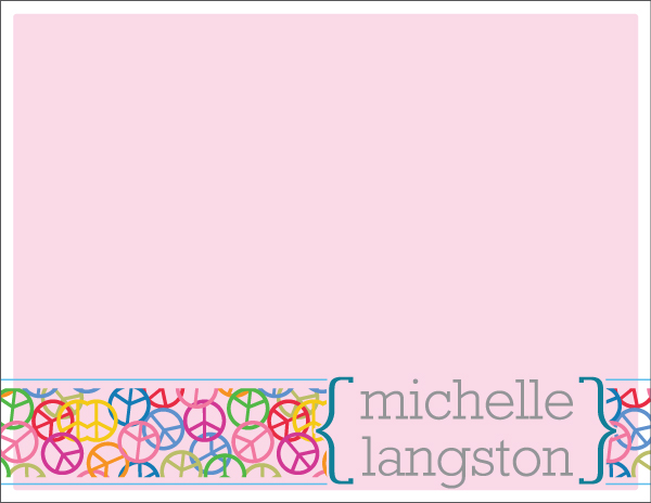 Personalized Pink Peace Foldover Card