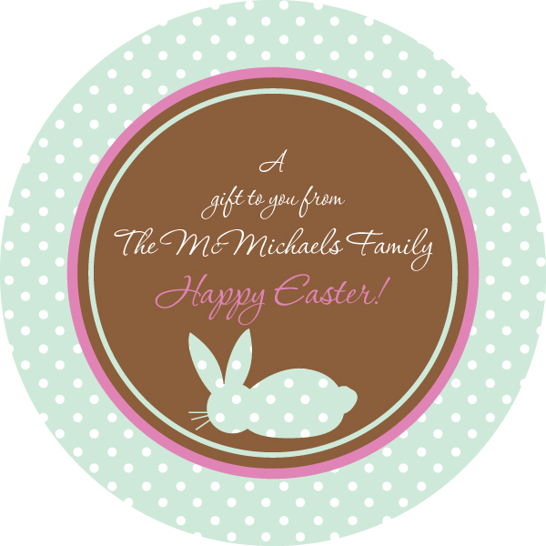 Personalized Dotted Bunny Easter Stickers