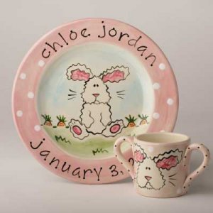 Fuzzy Bunny Plate or  Cup and Plate Set SL14/SL14P