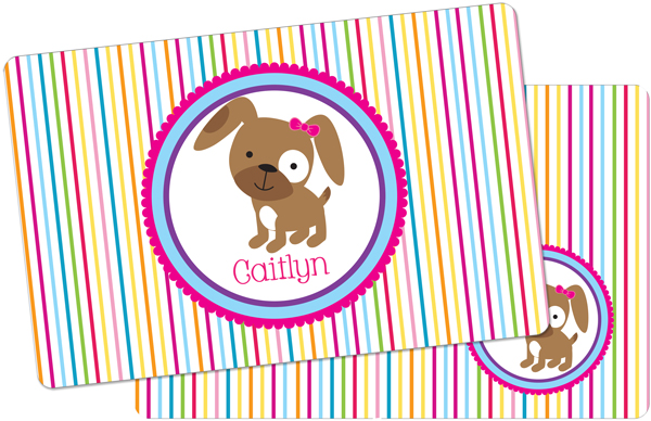 Personalized Puppy Girl Placemat