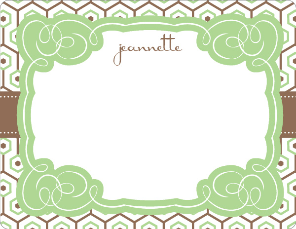 Personalized Sage Geometric Note Card