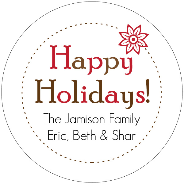 Personalized Simple Poinsetta Gift Stickers
