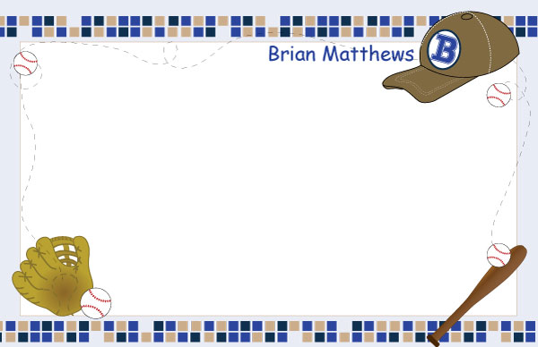 Personalized Baseball Paper Placemats