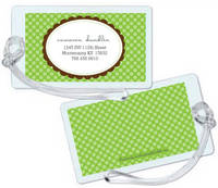 Scallop Frame Sage Luggage Tag