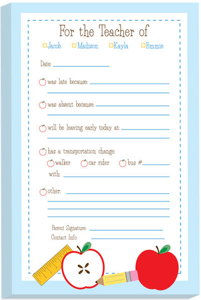 Personalized School Supplies Excuse Pads