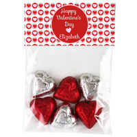 Double Pink Heart Valentine Candy Bag Toppers
